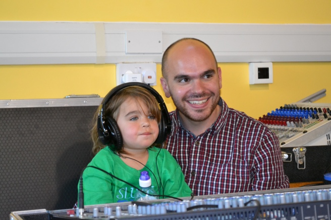 Pastor Tom Hart with daughter Jodie running sound in Dagenham.