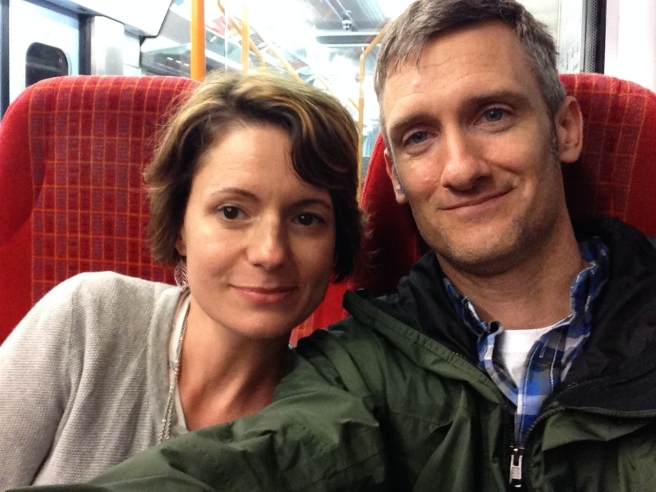 Amy and I on the tube, after a long,