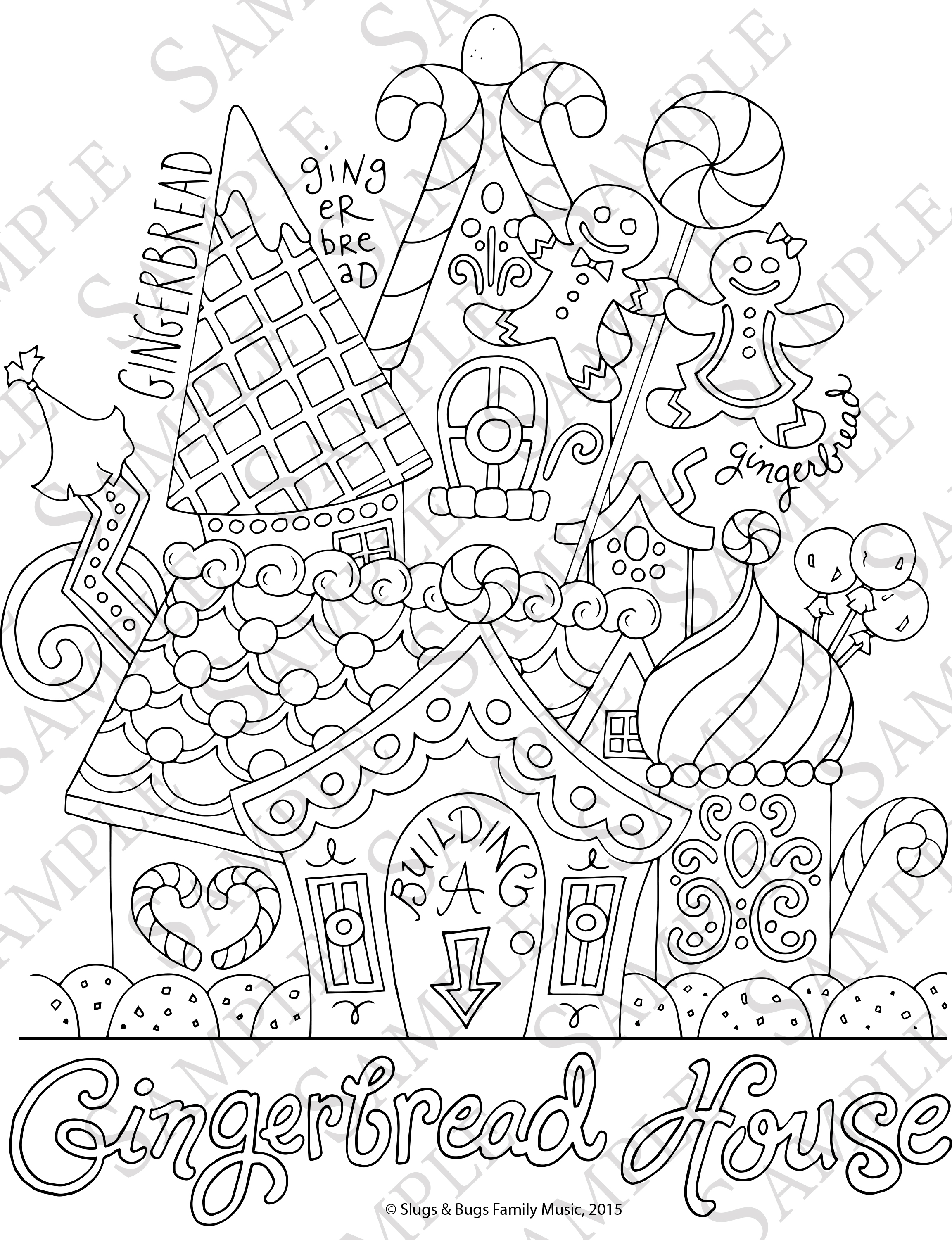 Gingerbread House Coloring Pages Good Detailed Gingerbread House